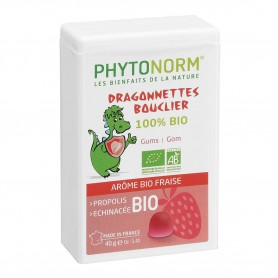 Photo Dragonnettes Bouclier goût Fraise 40g Bio Phytonorm Junior